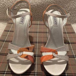 High heels sandals with diamonds.